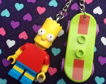 Bart Simpson Minifigure Keyring /Keychain...Handmade using LEGO® parts