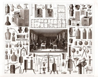 Chemical Apparatus vintage 1850s engraving reproduction