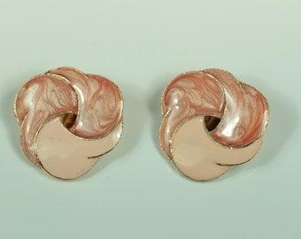 Pink Enamel Clip On Earrings