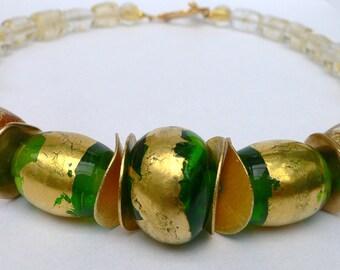 Handmade glass bead necklace 24 ct. Gold 44 cm