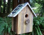 Upcycled Cedar Fence Wood & Indiana License Plate Birdhouse