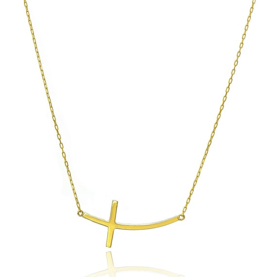 14k yellow gold horizontal curved cross necklace