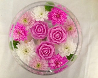 3 x Beautiful hand made Rose floating candles