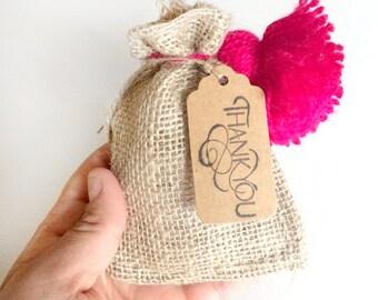 6 burlap bags - jute bags - 3x5 inches small burlap bags - wedding favors - natural burlap bag - packaging gift bag - wedding gift sack