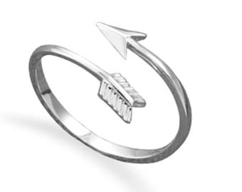 Celebrity Style 925 Sterling Silver Sideways Arrow Wrap Around Stackable Midi Knuckle Ring