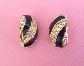 Rhinestone and Black Enamel Gold-Tone Clip-On Earrings