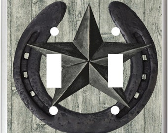 Rustic Barn Star Horseshoe   Light Switch Cover Plate or Outlet   Home Decor  Free Shipping to U.S.!!!