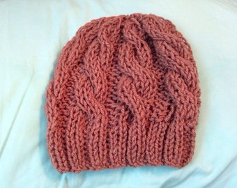 Brown chunky cable knit hat
