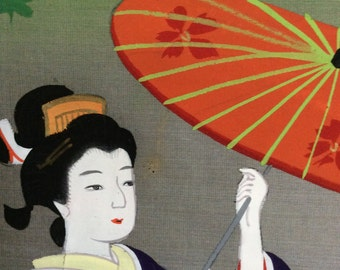 Vintage Japanese silk painting of a woman