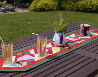 Handmade Quilted Patchwork Tablerunner  - Quilted Tablecloth