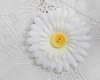 White Daisy Silk Flower Hair Clip with yellow  Button Center