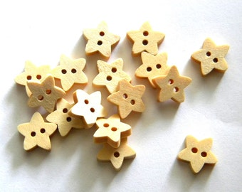 10 Small Wooden Star Buttons