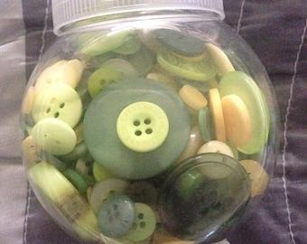 Jar of buttons--yellow green/hunter green mix
