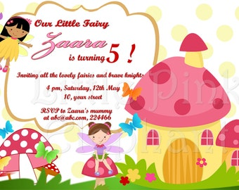 Fairy birthday party invitation printable