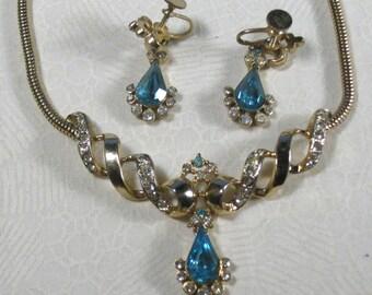 Vintage Aqua Teardrop Necklace and Earrings Set