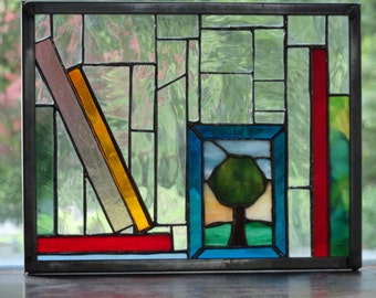 Small stained glass panel - bookshelf
