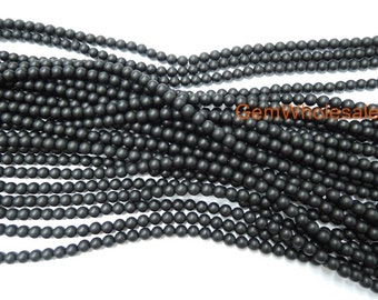 """15.5"""" Matte black onyx 4mm/6mm round beads, frosted Black onyx, matte black agate, frosted black agate, Matte black DIY beads,"""