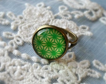 1 Piece of 14 mm Green Pattern Antique Bronze Fingerring  (.c)