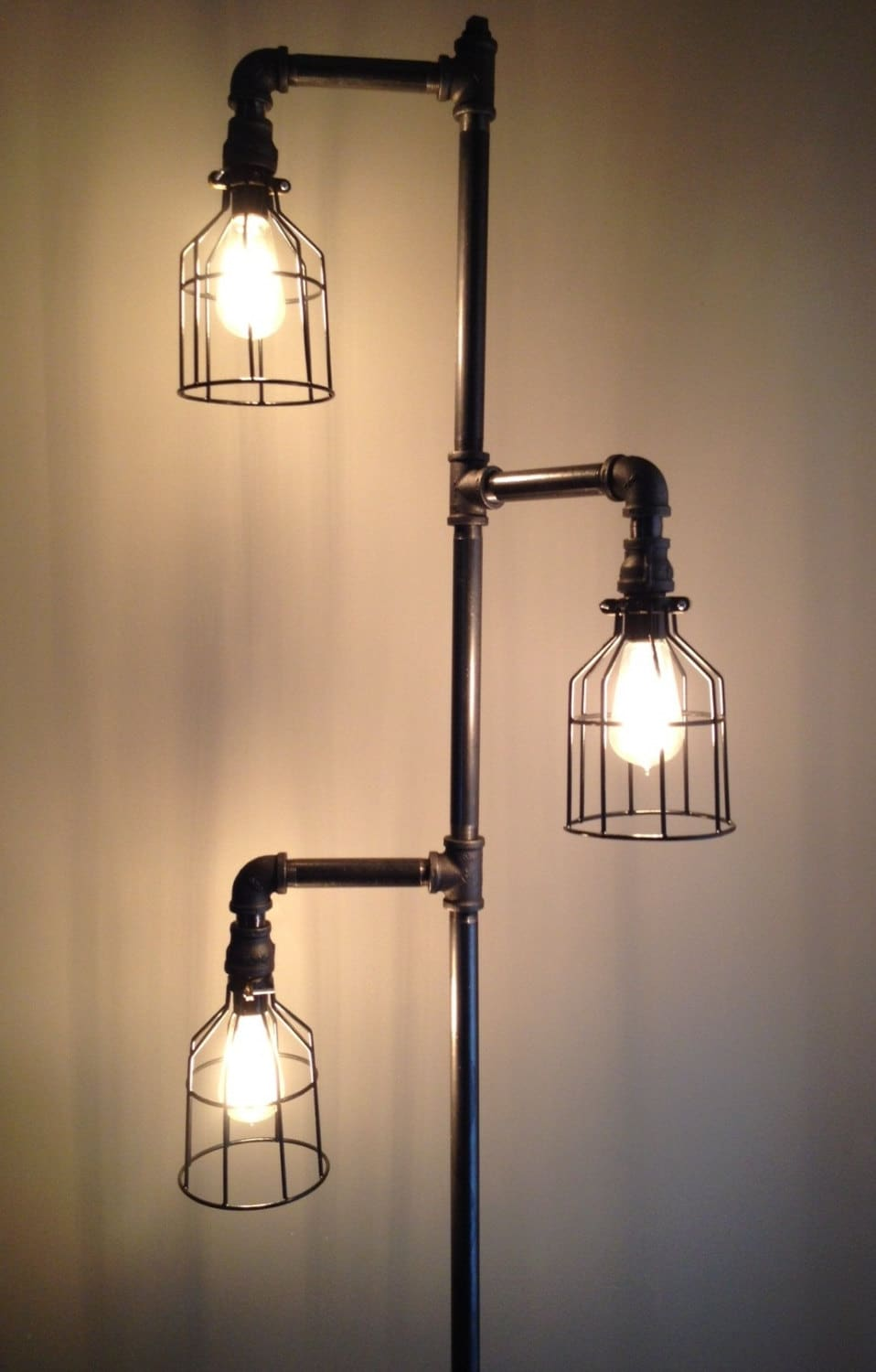 industrial plumbing pipe floor lamp. Black Bedroom Furniture Sets. Home Design Ideas