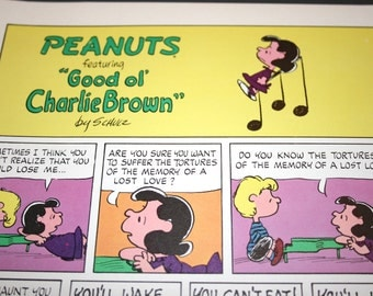 Lucy and Schroeder, Lost Love, Peanuts Comic Strip, Retro, Nostalgic Cartoon, Color Print, Charles Schulz, Frame, Wall Decor