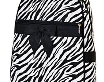 Personalized Quilted Zebra Print Large Backpack with FREE Personalization & FREE SHIPPING   qzb2746
