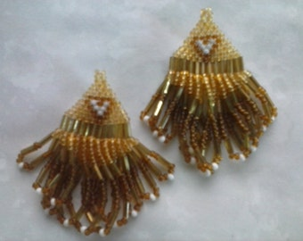 Native American Beaded Earrings - About 2 inches in length.  Fringe is free flowing. Beautifully done.