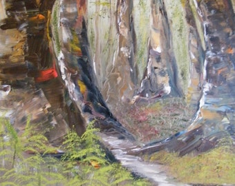 Woodland, painting of woodland, Springtime woodland, Oil painting woods, Springtime oil painting, Trees, Oil painting trees