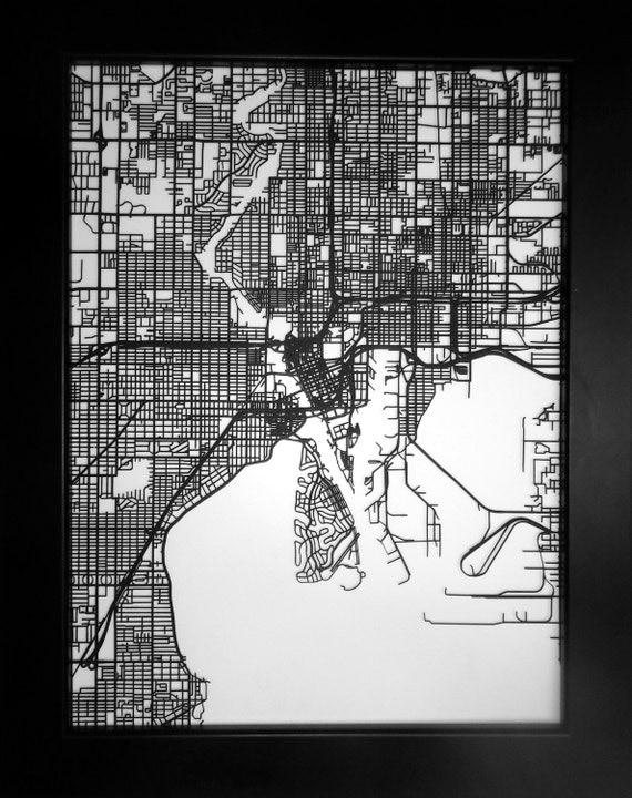 tampa florida laser cut street map minimalist art by carbonlight. Black Bedroom Furniture Sets. Home Design Ideas