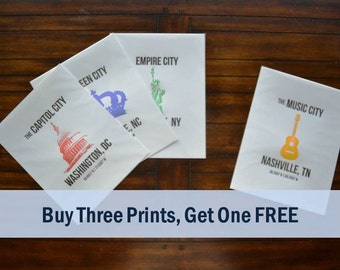 City Letterpress Prints - Buy 3, Get 1 FREE!