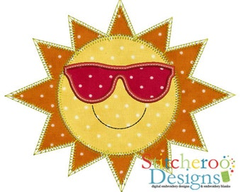 Cool Sun Applique Design -In Hoop sizes  4X4 , 5 x 7, 7x7, 9x9- Instant Download - for Embroidery Machines