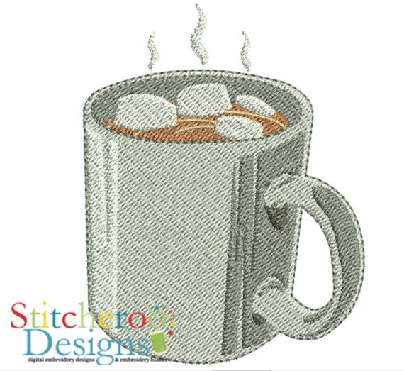 Hot cocoa embroidery design in hoop sizes by