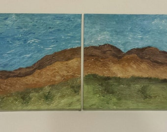 Original Acrylic Abstract/Contemporary Mountain Range Art On Canvas Set of  2 12x12 Ready-to Hang  Paintings-Textured In Blue Green & Brown