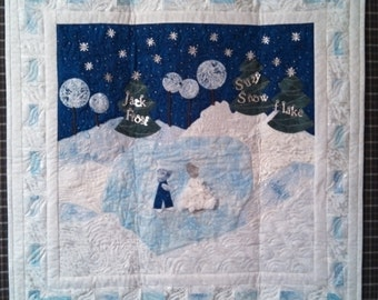 "Winter skating scene quilted wall hanging 30"" square"