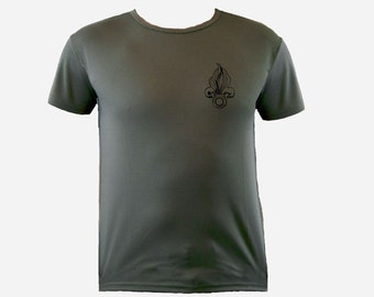 French Foreign Legion Fleur-de-lis od green sweat resistant polyester t-shirt