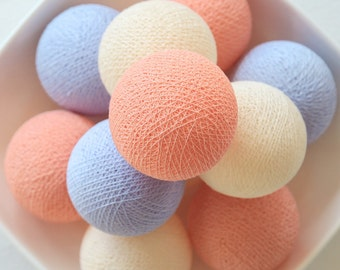 20 Loose Cotton Balls NOT INCLUDE String Lights, Patio Party, Outdoor, Fairy, Wedding Lights - Pastel Lavender Cream Peach