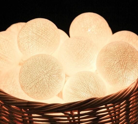 35 White Cotton Ball String Lights for Bedroom by LivingPastel