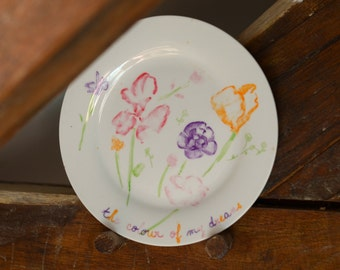 Plate bucolic flowers hand-painted