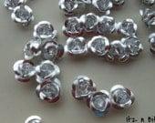 50 pc, Aluminum Rose Flower Metal Beads, silver. 6mm (IBC-1020-50)