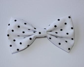 Black White Polka Dot Hair Bow Clip