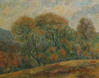 Forest landscape impressionist oil painting signed