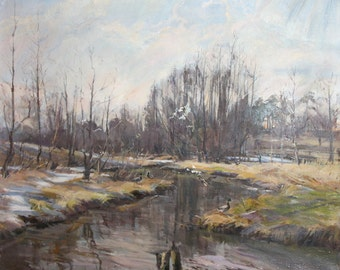 1985 Russian oil painting forest landscape signed