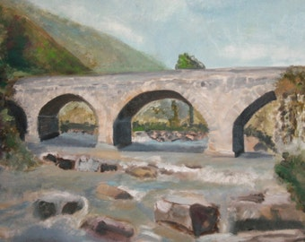Russian Oil Painting, Landscape River Bridge, Signed Cornelia Margan