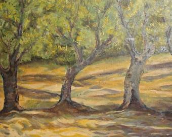 Landscape Forest Vintage Oil Painting Signed