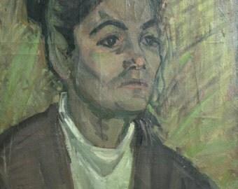 Vintage Impressionist Oil Painting, Female Portrait