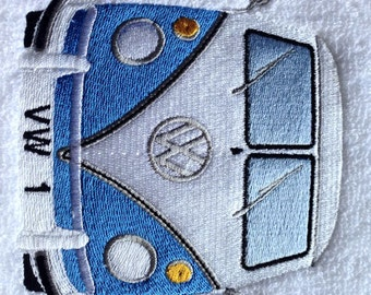 Personalise Embroidered VW Split Screen Campervan Towel All Colours