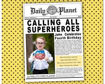 Superman Batman Superhero Justice League Birthday Newspaper Invitation