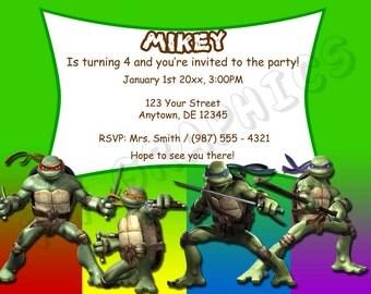 Teenage Mutant Ninja Turtles Birthday Invitation - Printable