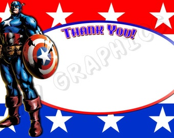 Captain America 4x6 Thank You Card - Printable