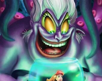 Ursula & Ariel The Little Mermaid Canvas Art Print