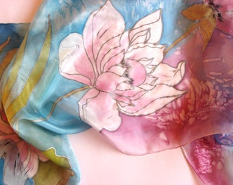 Painted  Pink Lotus Silk Scarf,  Blue Silk Scarf with Pink Lotus, Long Luxury Silk Scarf, Women Silk Accessory, Summer Silk Scarf
